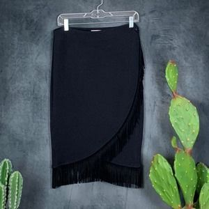 St. John Sport By Marie Gray Fringe Skirt Black M